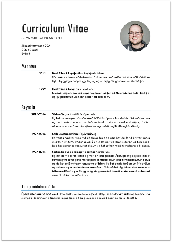 CV Styrmir barkars